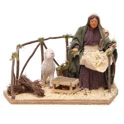 donna con pecora in movimento