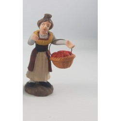 donna con cesto di mele