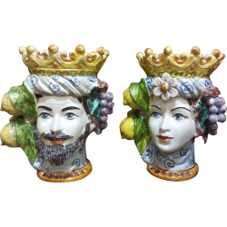 coppia teste di moro con limoni e uva